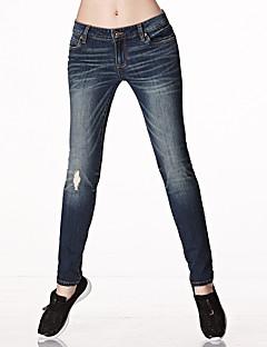 Feminino Sensual Simples Moda de Rua Cintura Baixa Micro-Elástica Jeans Calças,Reto Sólido,Côr Pura Ganga rasgado