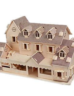 Puzzle Sada na domácí tvoření 3D puzzle Stavební bloky DIY hračky Dům Dřevo