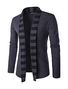 Masculino Padrão Carregam,Casual Listrado Colarinho de Camisa Manga Longa Poliéster Inverno Média Micro-Elástica