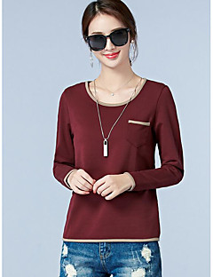 Tee-shirt Femme,Couleur Pleine Décontracté / Quotidien simple Manches Longues Col Arrondi Coton