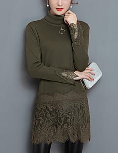 Damen Solide Street Schick Ausgehen Lässig/Alltäglich Übergröße Bluse,Rollkragen Herbst Winter Langarm Polyester Mittel