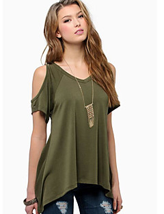 Women's Going out Casual/Daily Simple T-shirt,Solid Round Neck Short Sleeves Cotton