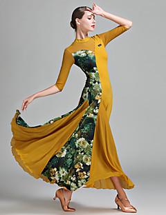 Standardní tance Dámské Tyl Lycra Ledové hedvábí Barevně dělené 1ks / Set Polodlouhé rukávy Přírodní Šaty