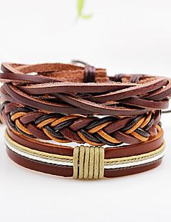 Herre Dame Wrap Armbånd Læder Armbånd Punk Stil Justérbar Personaliseret Klippe Multi-bæremåder beklædning Læder Line Smykker Til