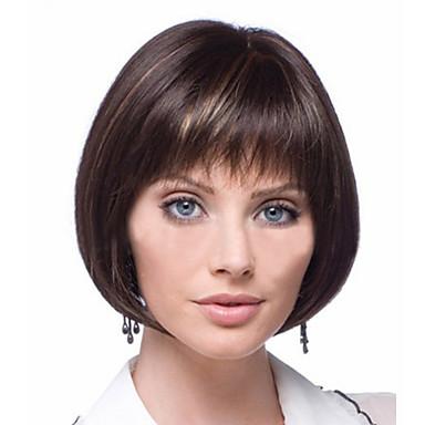 Peruci Sintetice Drept Stil Tunsoare Bob Perucă Maro Auriu Cu Blond