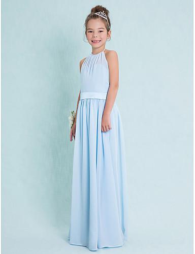 f5c977d6144 Ίσια Γραμμή Δένει στο Λαιμό Μακρύ Σιφόν Φόρεμα Νεαρών Παρανύμφων με Ζώνη /  Κορδέλα με LAN TING BRIDE® / Φυσικό