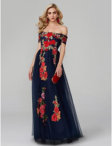 850b987b25a Γραμμή Α Ώμοι Έξω Μακρύ Δαντέλα πάνω από τούλι Μπλοκ χρωμάτων Χοροεσπερίδα  / Επίσημο Βραδινό Φόρεμα με Κέντημα με TS Couture®