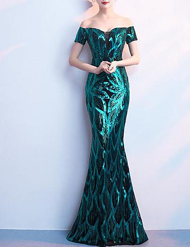10c850acef3f Χαμηλού Κόστους Βραδινά Φορέματα-Τρομπέτα   Γοργόνα Ώμοι Έξω Μακρύ Με  πούλιες Φανταχτερό   Μπλοκ