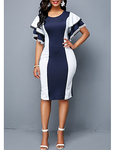 a3ab631c38ca economico Vestiti da donna-abito aderente al ginocchio da donna viola rosso  blu s m l xl
