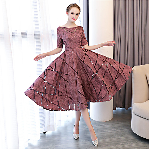 13b6ac46db1af A-Line Bateau Neck Tea Length Satin Chiffon Cocktail Party / Prom Dress  with Lace / Pleats by LAN TING Express