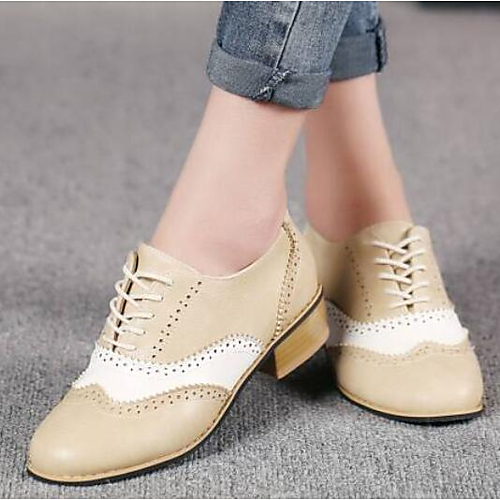 d0ed195be9113 Women's PU(Polyurethane) Summer Comfort Oxfords Chunky Heel Closed Toe  Beige / Gray / Coffee / Party & Evening