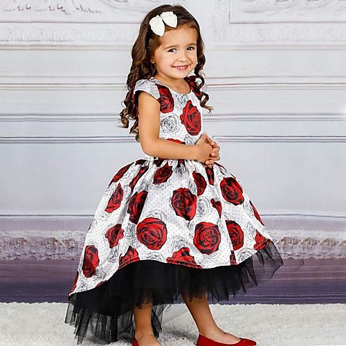 66d5bbdc339 Princess Floor Length   Long Length Flower Girl Dress - Polyester   Tulle  Short Sleeve Jewel Neck with Bow(s)   Pattern   Print   Belt by LAN TING  Express
