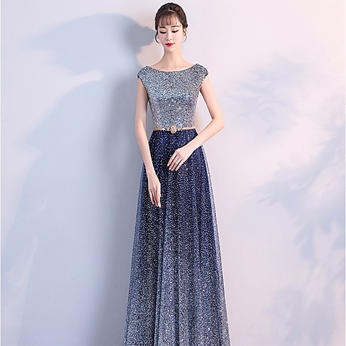 f67cf7047f1 A-Line Bateau Neck Floor Length Tulle   Sequined Bridesmaid Dress with  Crystals by LAN TING Express