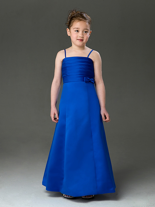 82bf8a79d2 A-Line   Princess Floor Length Flower Girl Dress - Satin Sleeveless Spaghetti  Strap with Bow(s)   Ruched by LAN TING BRIDE®   Spring   Summer   Fall ...