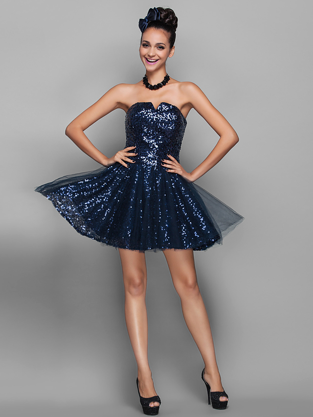 e7e1772b194f A-Line Notched Short / Mini Tulle / Sequined Sparkle & Shine Cocktail Party  /