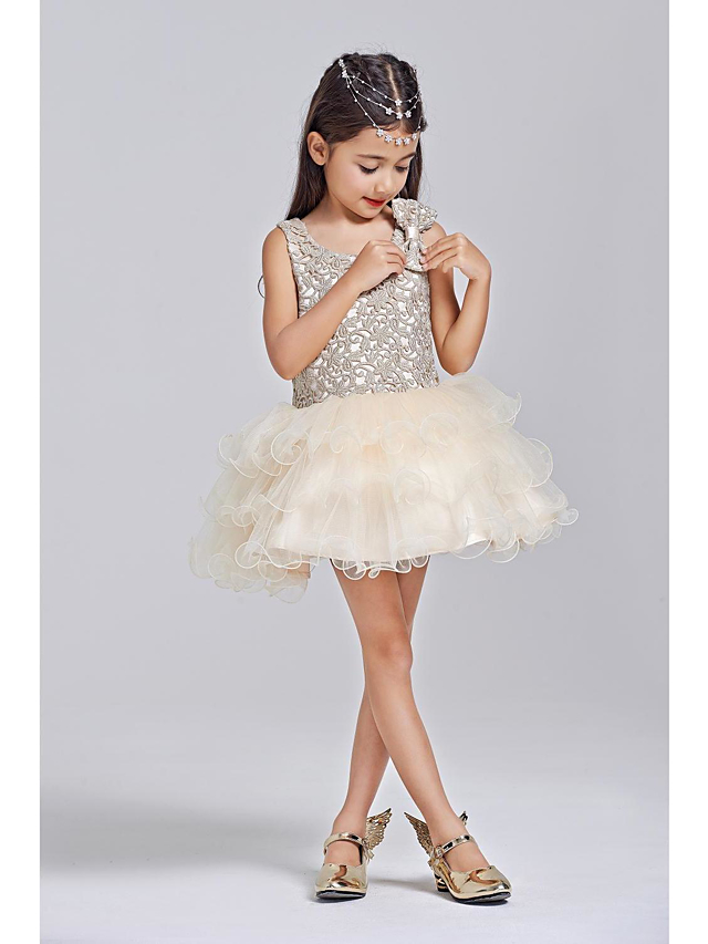 afe204fb2cf Ball Gown Short   Mini Flower Girl Dress - Polyester   Tulle Sleeveless  Scoop Neck with Bow(s) by LAN TING BRIDE®