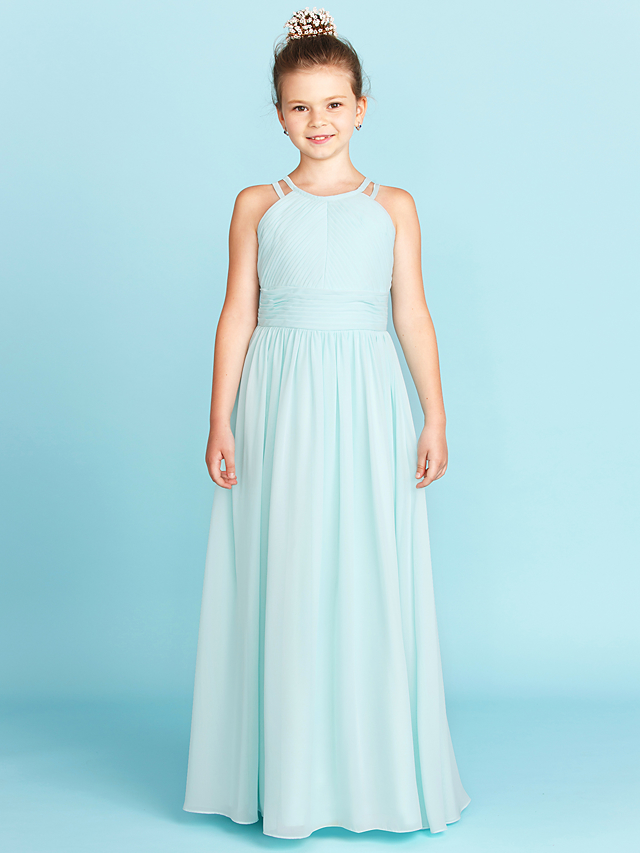 c7b912f63 A-Line / Princess Jewel Neck Floor Length Chiffon Junior Bridesmaid Dress  with Ruched /