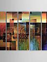Peint a la main Abstrait Horizontale,Classique Moderne Cinq Panneaux Toile Peinture a l\'huile Hang-peint For Decoration d\'interieur