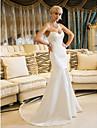 Trompetă / Sirenă In Formă de Inimă Trenă Court Satin Rochie de mireasă cu Decorat de LAN TING BRIDE®