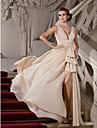 A-line printesa v-gât matura / perie tren chiffon seara rochie cu beading de ts couture®