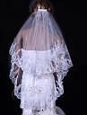 Voal de Nuntă Două Straturi Voaluri Lungime Până la Vârfurile Degetelor Margine cu Aplicație de Dantelă 31.5 in (80cm) Tul Alb Ivoriu