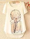 Moko coreeană fată drăguță Print Roumd guler cu maneci scurte T șifon Shirt (ecran color)