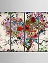 toile set Abstrait A fleurs/Botanique Classique Moderne,Quatre Panneaux Verticale Imprimer Art Decoration murale For Decoration