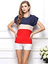 Femei Bluză Casul/Zilnic Simplu(ă),Bloc Culoare Manșon scurt Vară-Roșu / Verde Mediu Poliester