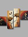 Peint a la main Abstrait / A fleurs/BotaniqueModern Quatre Panneaux Toile Peinture a l\'huile Hang-peint For Decoration d\'interieur