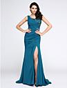 Mermaid / trompeta v-gât matura / perie tren chiffon rochie de seară cu aplicații cristal de ts couture®