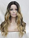 Femme Perruque Synthetique Lace Front Long Ondules Marron Au Milieu Cheveux Colores Racines foncees Ligne de Cheveux Naturelle Perruque