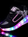 Dame Adidași Primăvară Toamnă Confortabili PU Outdoor Toc Plat Dantelă LED Negru Roz Clăpari
