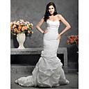 levne Koupelnové baterie-Mořská panna Srdcový výstřih Velmi dlouhá vlečka Taft Svatební šaty vyrobené na míru s Nabíraná sukně / Knoflík / Nabírané po stranách podle LAN TING BRIDE®