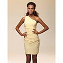 Χαμηλού Κόστους Μαξιλαράκια για Βέρες-Ίσια Γραμμή Ένας Ώμος Κοντό / Μίνι Ελαστικό Σατέν Στυλ Διασήμων Κοκτέιλ Πάρτι Φόρεμα με Πλαϊνό ντραπέ / Πιασίματα με TS Couture®