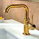 hesapli Banyo Lavabosu Muslukları-Banyo Lavabo Bataryası - Döndürülebilir Ti-PVD Tek Gövdeli Tek Delik / Tek Kolu Bir Delik