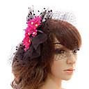 זול הד פיס למסיבות-Red And Black Tulle Wedding Bridal Flowers Headpiece