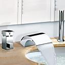 povoljno Haljine za djevojčice-Slavina za kadu - Suvremena Chrome Rimska kupelj Keramičke ventila Bath Shower Mixer Taps / Nehrđajući čelik / Dvije ručke tri rupe