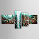 cheap Abstract Paintings-Oil Painting Hand Painted - Abstract Traditional / Modern Stretched Canvas / Four Panels