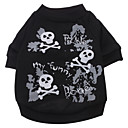 cheap Dog Clothes-Dog Shirt / T-Shirt Dog Clothes Skull Black Cotton Costume For Pets Men's Women's Fashion Halloween