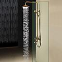 halpa Sprinkle®-suihkuhanat-Antiikki Suihkujärjestelmä Sadesuihku Mukana käsisuihku with  Keraaminen venttiili Kolme reikää Kaksi kahvaa kolme reikää for