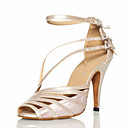 cheap Latin Shoes-Women's Latin Shoes / Ballroom Shoes PU Leather / Satin Sandal Buckle Customized Heel Customizable Dance Shoes Grey / Nude / Black