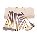 cheap DIY Wall Clocks-12pcs coffee handle cosmetic brush set with off white leather pouch