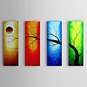 cheap Abstract Paintings-Oil Painting Hand Painted - Landscape Canvas Four Panels