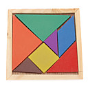 cheap Wooden Puzzles-Kid's 7pcs Colorful Board Tangram IQ Puzzle Education Kit Toy