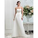 Χαμηλού Κόστους Αξεσουάρ για πάρτι-Γραμμή Α Στράπλες Ουρά Σατέν Φορέματα γάμου φτιαγμένα στο μέτρο με Κουμπί με LAN TING BRIDE®