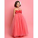 Χαμηλού Κόστους Δώρα γάμου-Γραμμή Α / Πριγκίπισσα Μακρύ Φόρεμα για Κοριτσάκι Λουλουδιών - Τούλι Αμάνικο Δένει στο Λαιμό με Λουλούδι με LAN TING BRIDE® / Άνοιξη / Καλοκαίρι / Φθινόπωρο / Πρώτη Κοινωνία