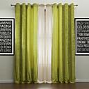 abordables Holiday Home Textiles-Corredizo Anillo Lazo de tela Doble plisado Dos Paneles Ventana Tratamiento Modern, Jacquard Un Color Poliéster Material cortinas cortinas