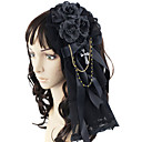 cheap Grips-Princess Lolita Jewelry Gothic Lolita Dress Headwear Men's Women's Black Bowknot Headpiece Lace Artificial Gemstones Satin Costumes