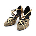 abordables Zapatos de Baile Latino-Mujer Brillantina / Semicuero Zapatos de Baile Moderno / Salón Tacones Alto Tacón Personalizado Personalizables Bronce / Oro / EU41