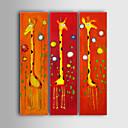 Χαμηλού Κόστους Ελαιογραφίες-Hang-ζωγραφισμένα ελαιογραφία Ζωγραφισμένα στο χέρι - Κινούμενα σχέδια Καμβάς Τρίπτυχα